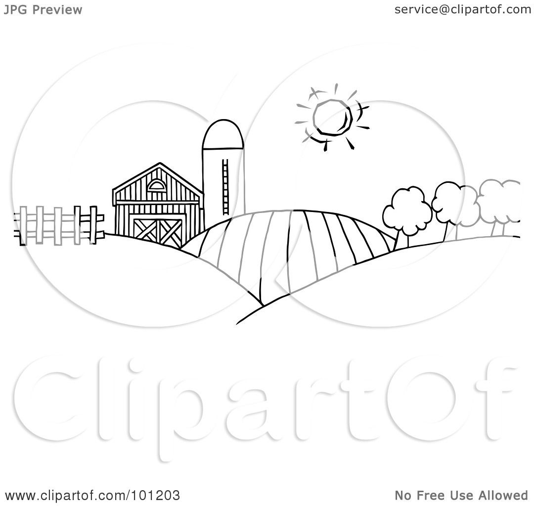 royalty free rf clipart illustration of a coloring page outline of rolling hills a farm and silo on farm land by hit toon