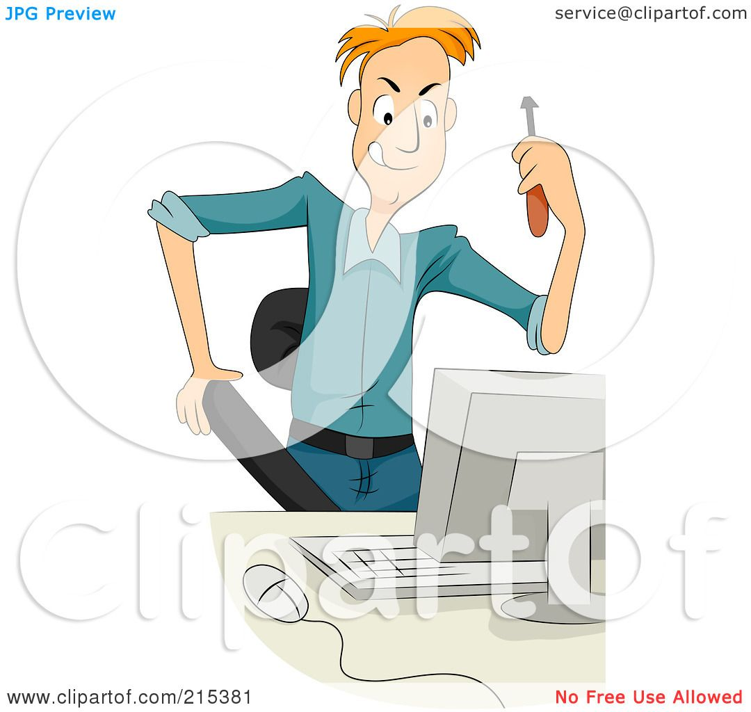 Royalty-Free (RF) Clipart Illustration of a Computer Technician ...