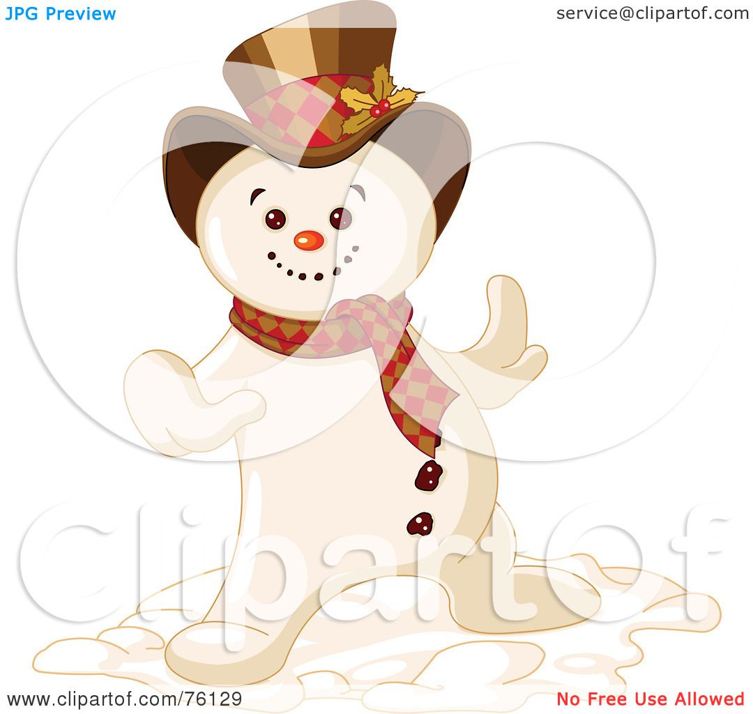 Mr Snowman On Christmas Is Getting Cold Coloring Page: Royalty-Free (RF) Clipart Illustration Of A Cool Snowman