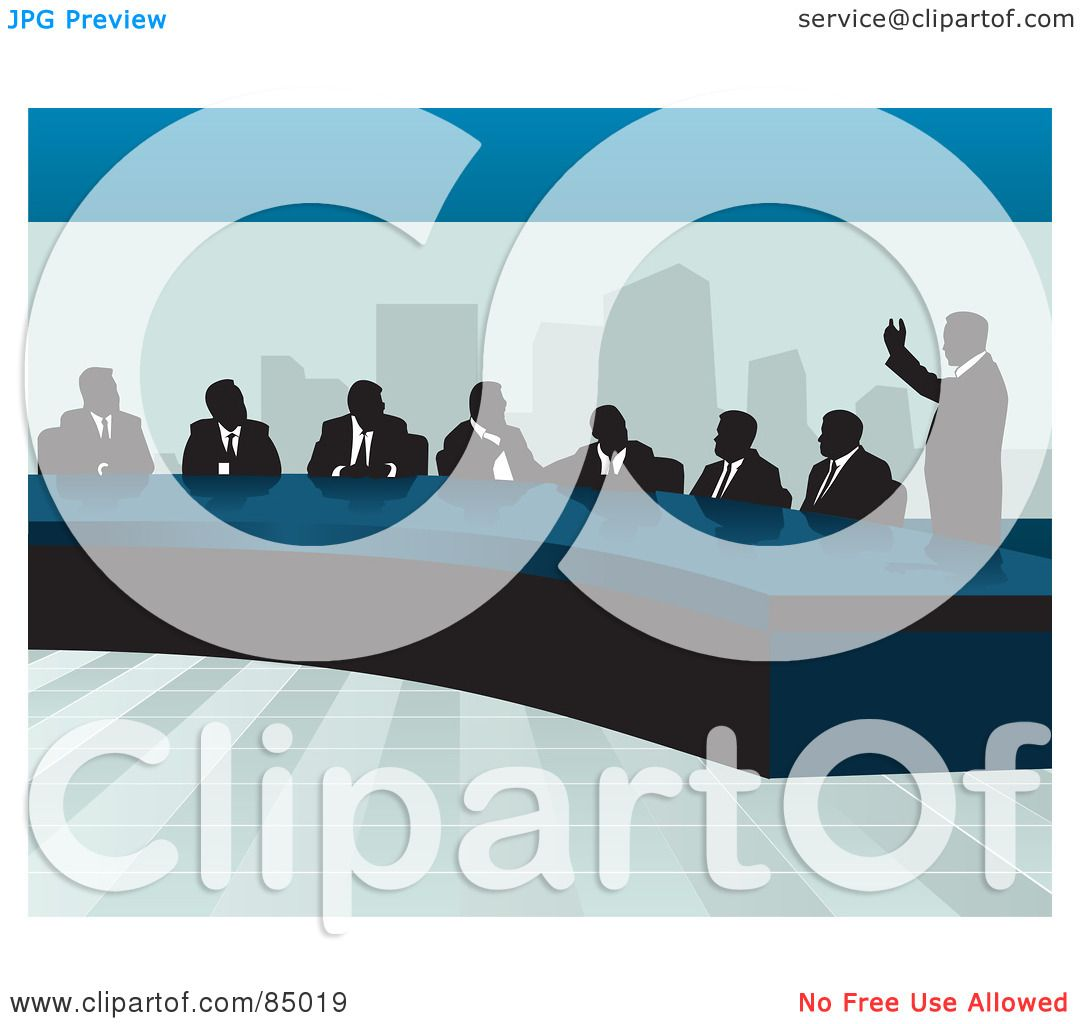 Royalty Free RF Clipart Illustration Of A Corporate Business Team Discussing At Table In An Office By David Rey