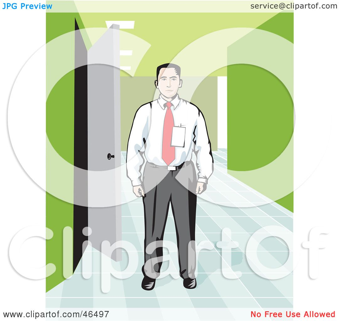Royalty Free RF Clipart Illustration Of A Corporate Businessman Wearing Badge And Standing In An Office Hallway By David Rey