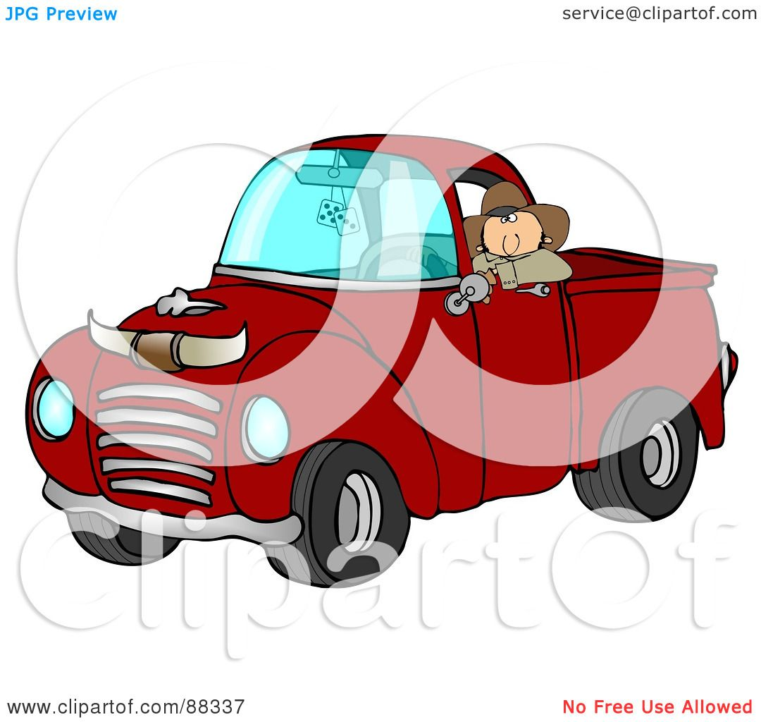 Green truck clipart royalty free rf pickup truck clipart - Royalty Free Rf Clipart Illustration Of A Cowboy Leaning Out The Window Of His Vintage Red Pickup Truck With Horns On The Hood By Djart