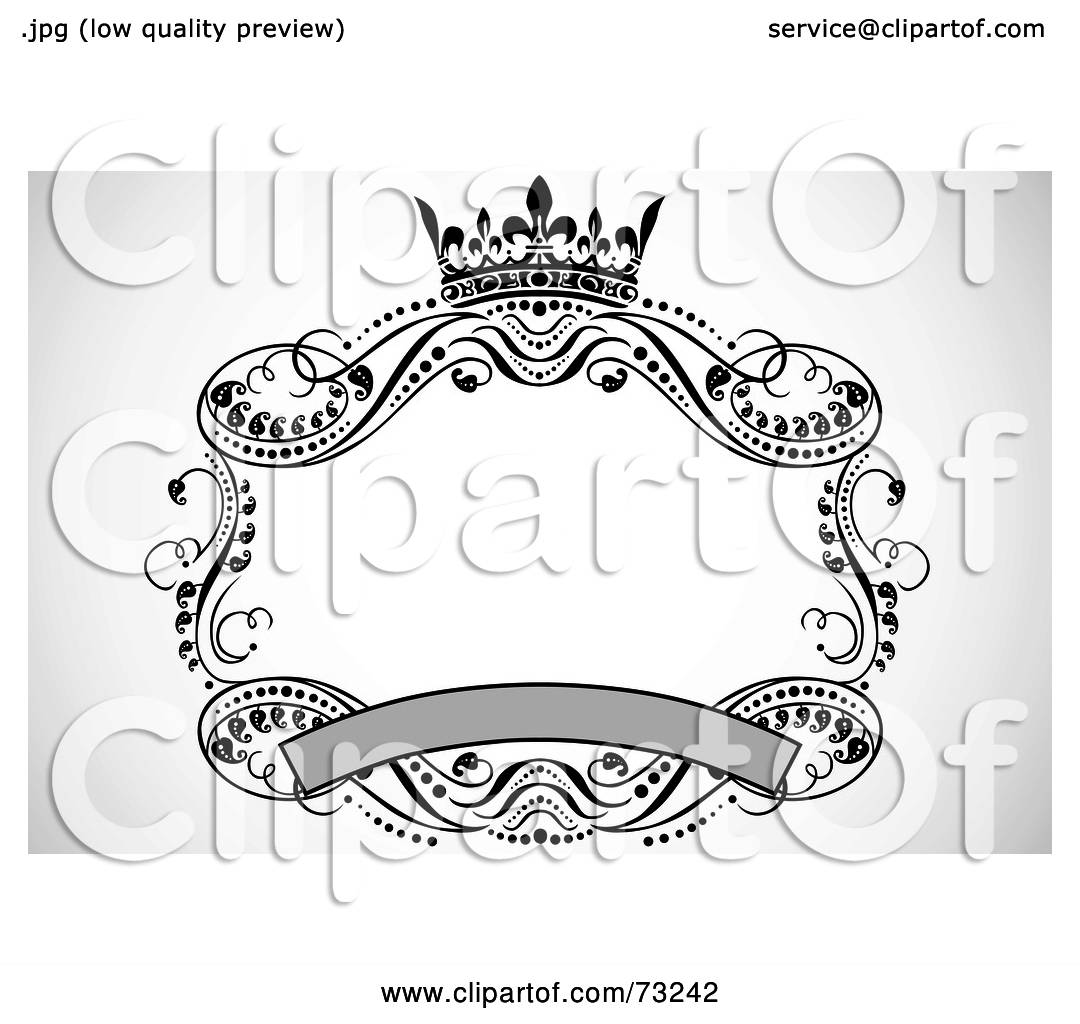 Royalty-Free (RF) Clipart Illustration of a Crown, Banner And Scroll ...