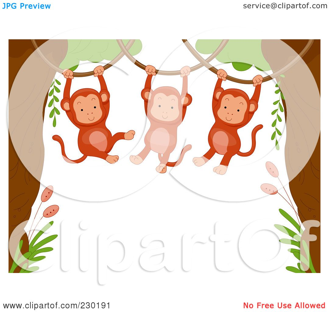 Free rf poodle clipart illustration 215241 by bnp design studio - Royalty Free Rf Clipart Illustration Of A Cute Animal Border Of Hanging Monkeys Around White Space