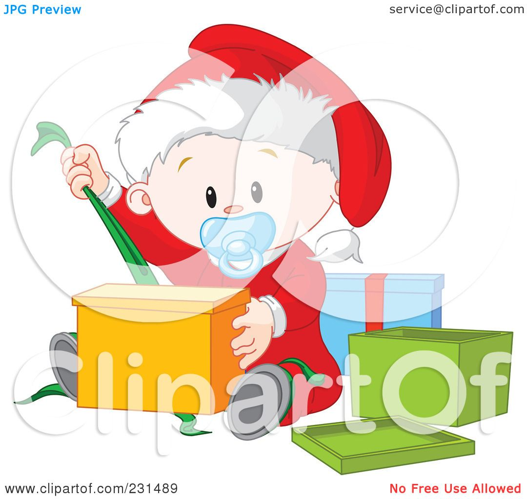 Royalty Free RF Clipart Illustration Of A Cute Baby Boy Opening Christmas Presents By Pushkin