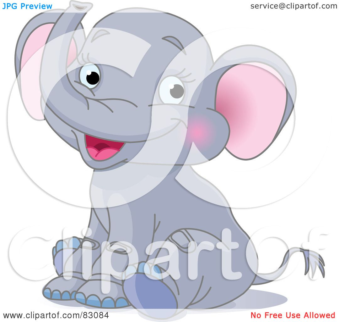 Royalty-Free (RF) Clipart Illustration of a Cute Baby Elephant ...