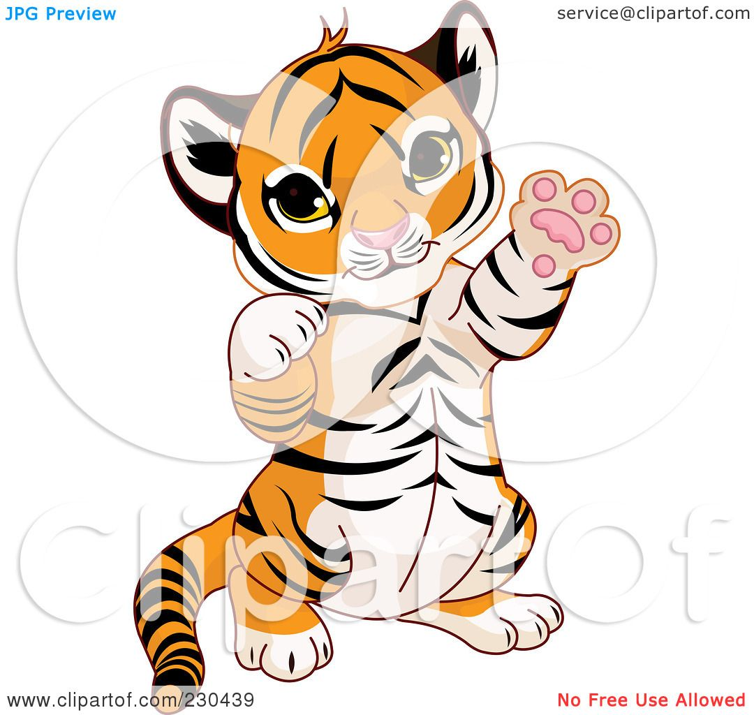 Royalty-Free (RF) Clipart Illustration of a Cute Baby Tiger ...