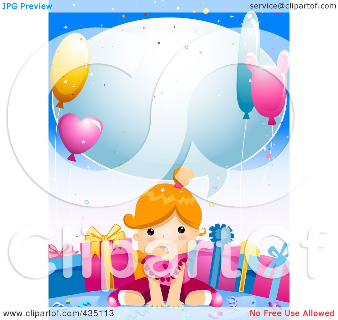 Royalty Free RF Clipart Illustration Of A Cute Birthday Girl Sitting In Front
