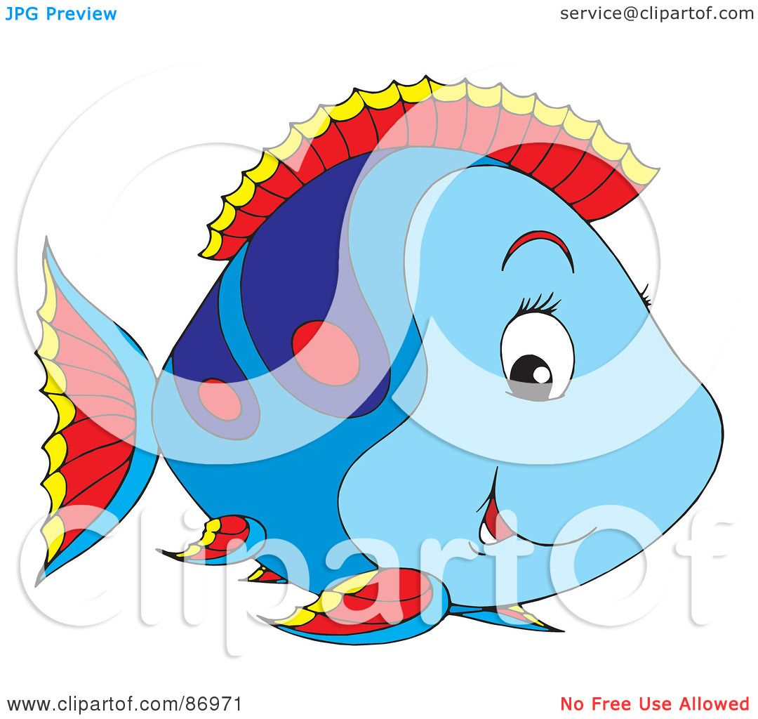 Royalty-Free (RF) Clipart Illustration of a Cute Blue And ...