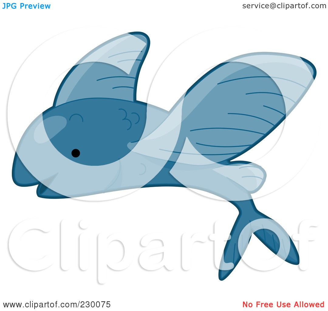Royalty-Free (RF) Clipart Illustration of a Cute Blue Flying Fish by ...