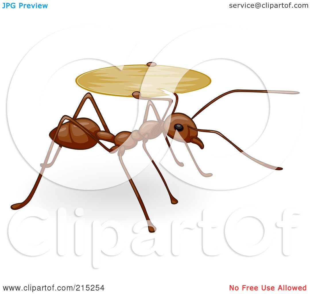 Royalty-Free (RF) Clipart Illustration of a Cute Brown Ant Carrying ...