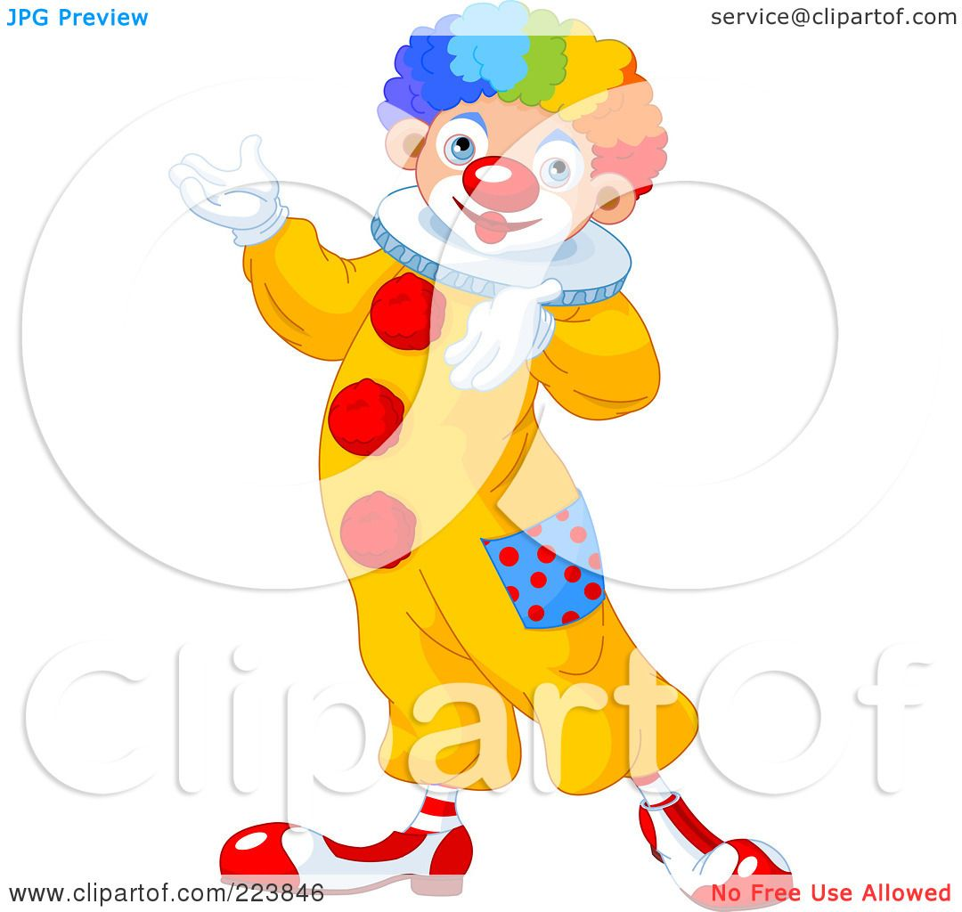 Free rf poodle clipart illustration 215241 by bnp design studio - Royalty Free Rf Clipart Illustration Of A Cute Clown Gesturing And Presenting By Pushkin