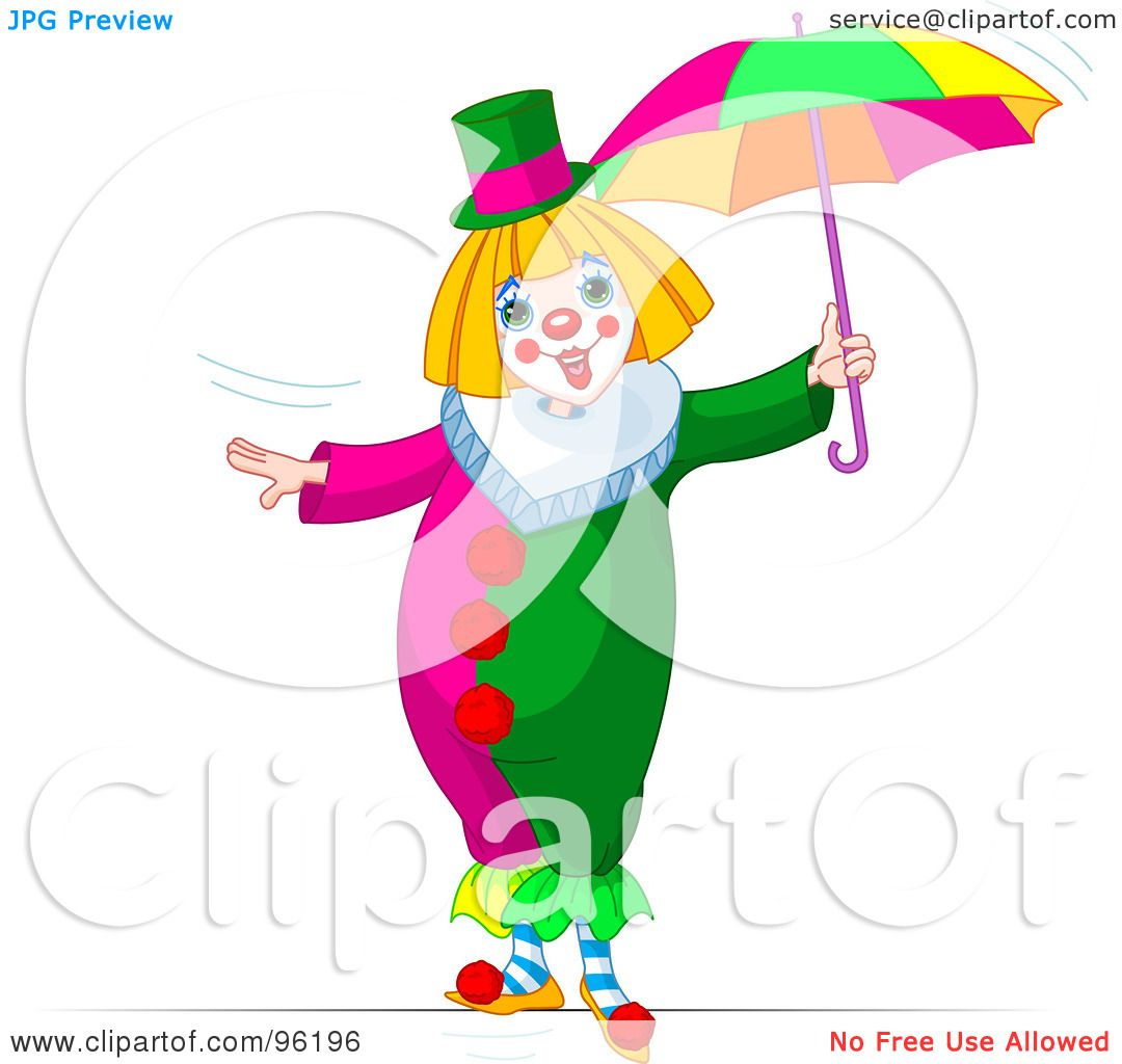 Illustration of a cute clown walking with an umbrella on a tightrope