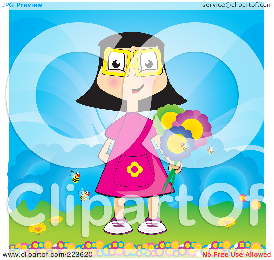 clipart girl holding flowers - photo #35