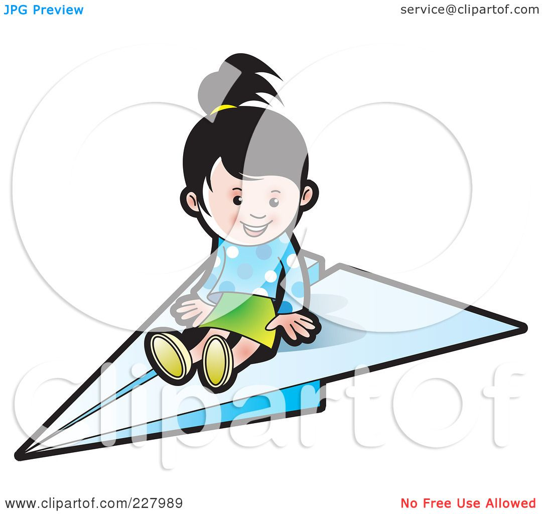 Royalty Free Rf Clipart Illustration Of A Cute Girl On A Paper Airplane By Lal Perera 227989