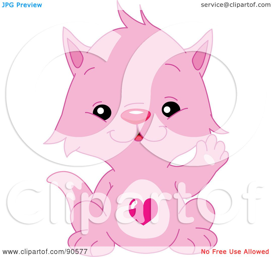 Pink Kitten Drawing of a Cute Pink Kitten With