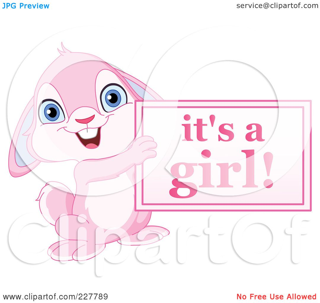 Royalty-Free (RF) Clipart Illustration of a Cute Pink Rabbit ...