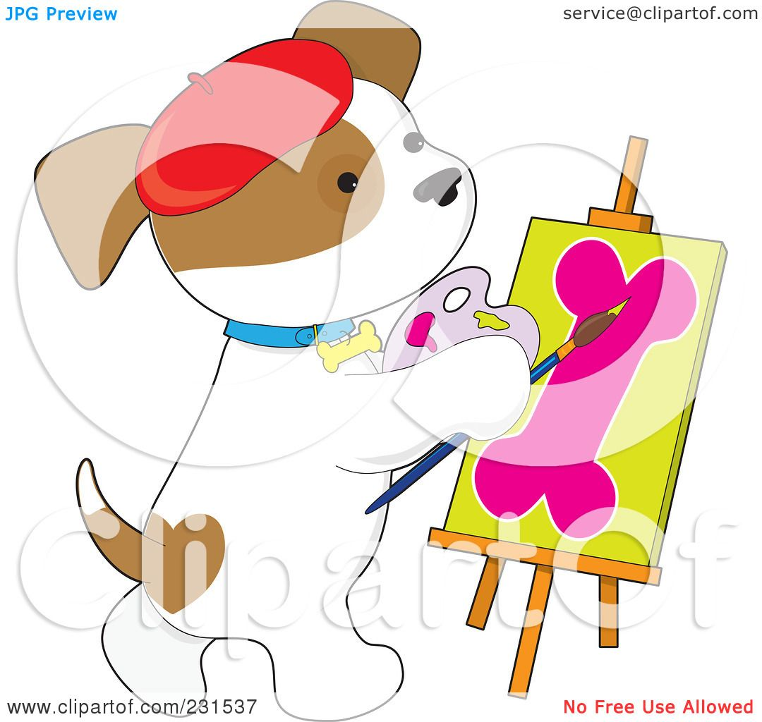 Puppy Paint Brush Clipart