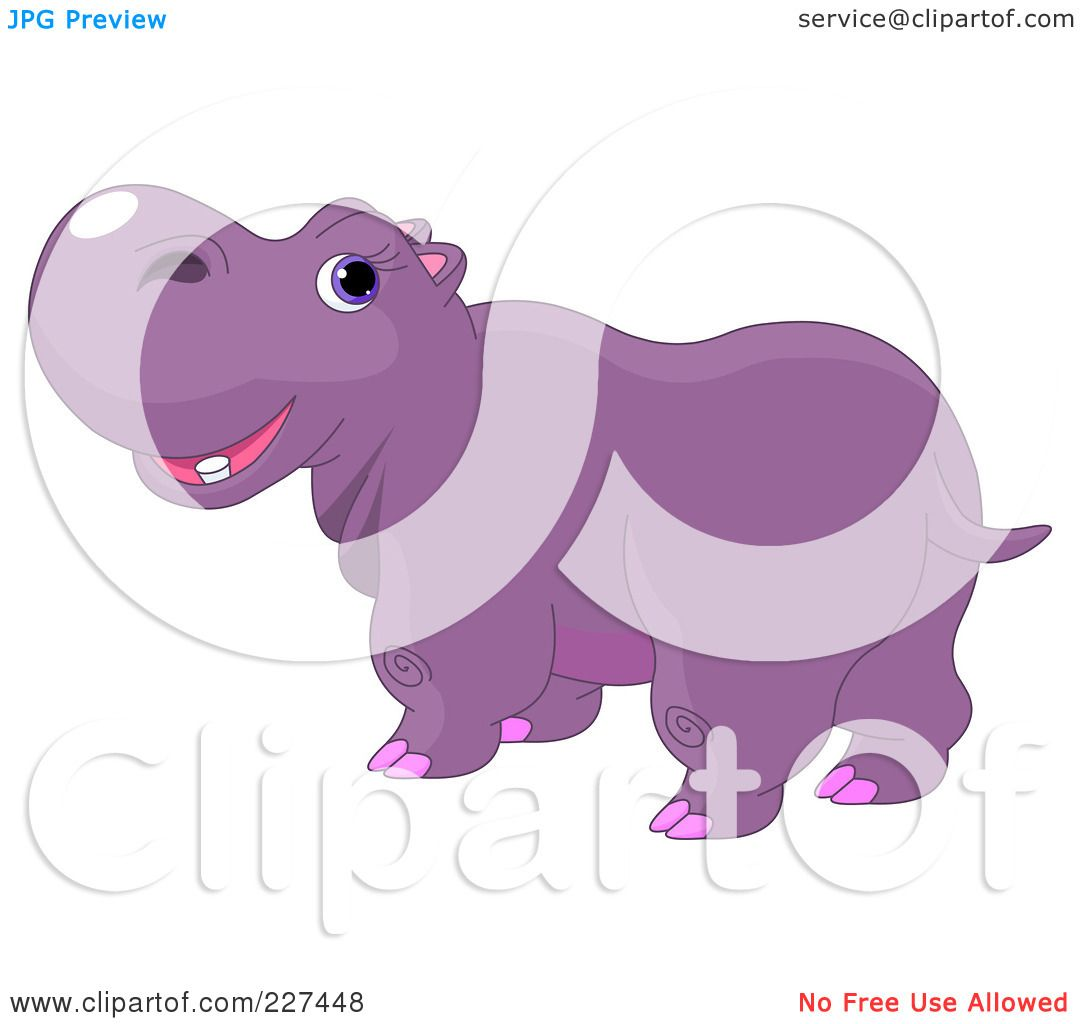 Hippo Art Images: Royalty-Free (RF) Clipart Illustration Of A Cute Purple