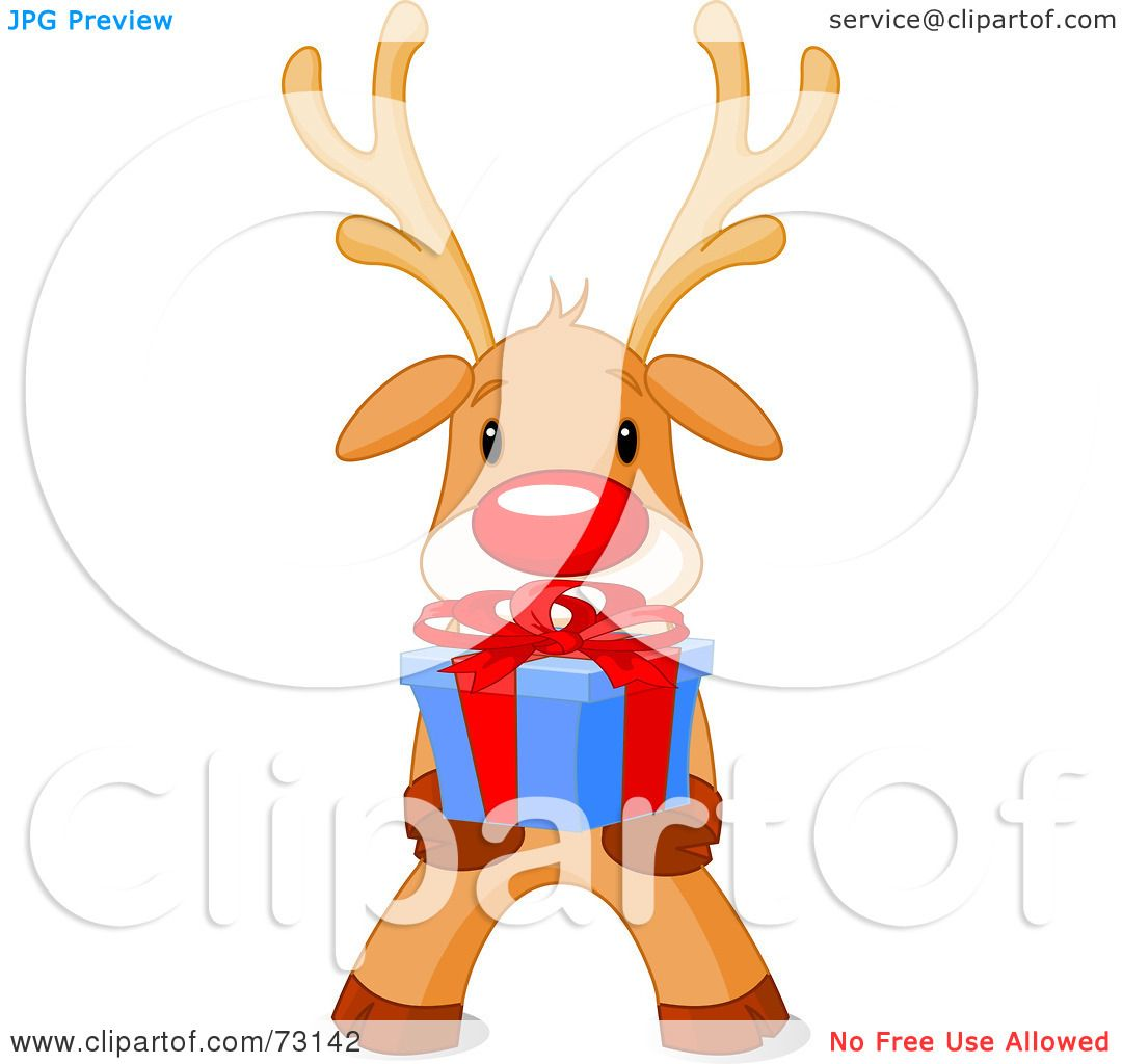 Royalty-Free (RF) Clipart Illustration of a Cute Rudolph ...