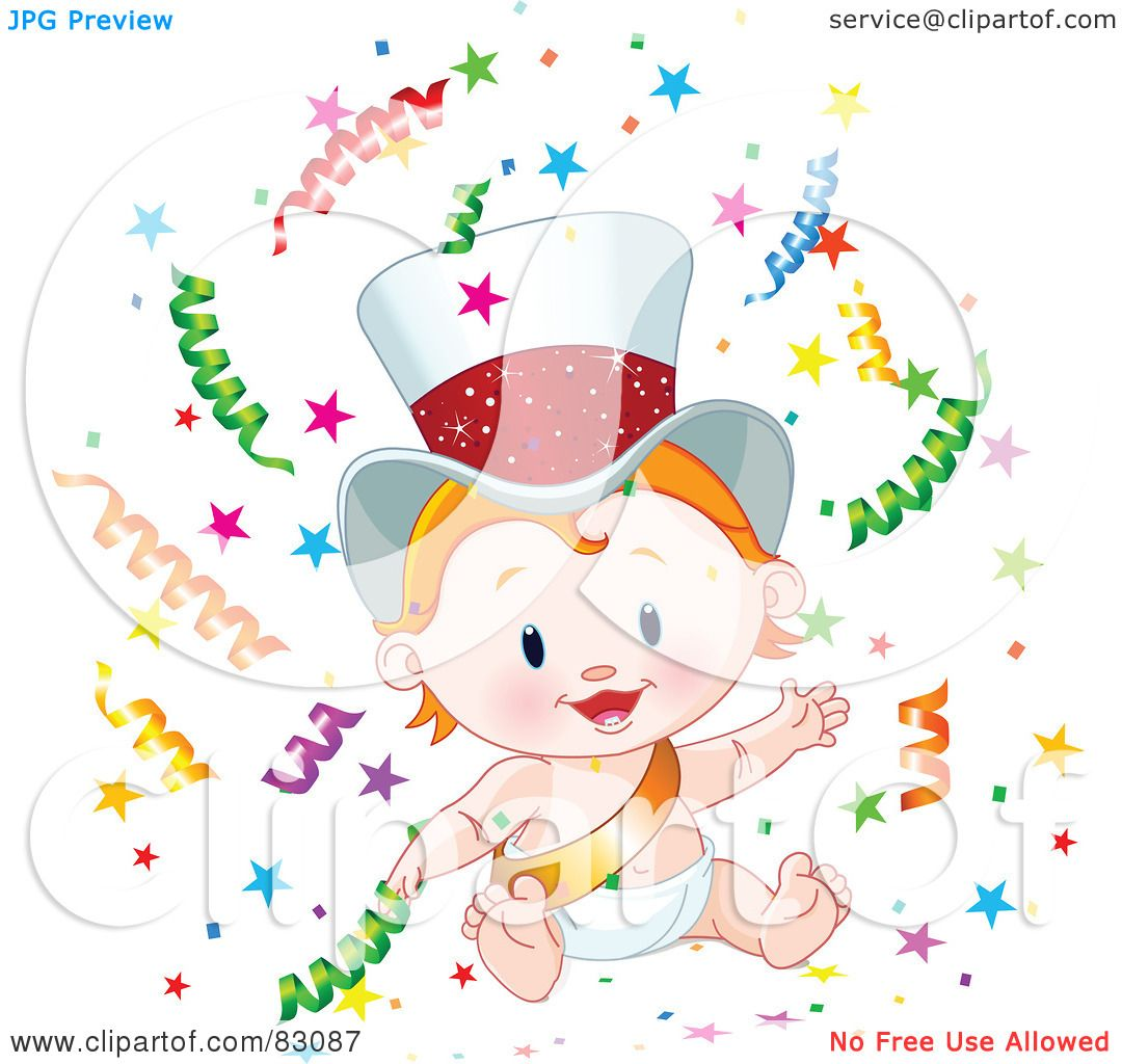 royalty free rf clipart illustration of a cute strawberry blond new year baby wearing a gold sash and hat surrounded by confetti by pushkin