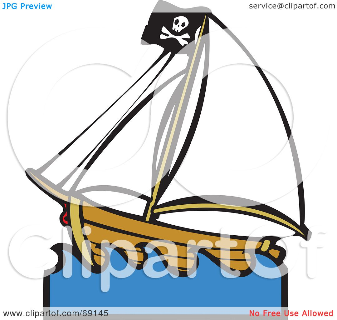 Royalty-Free (RF) Clipart Illustration of a Deserted Pirate Ship ...