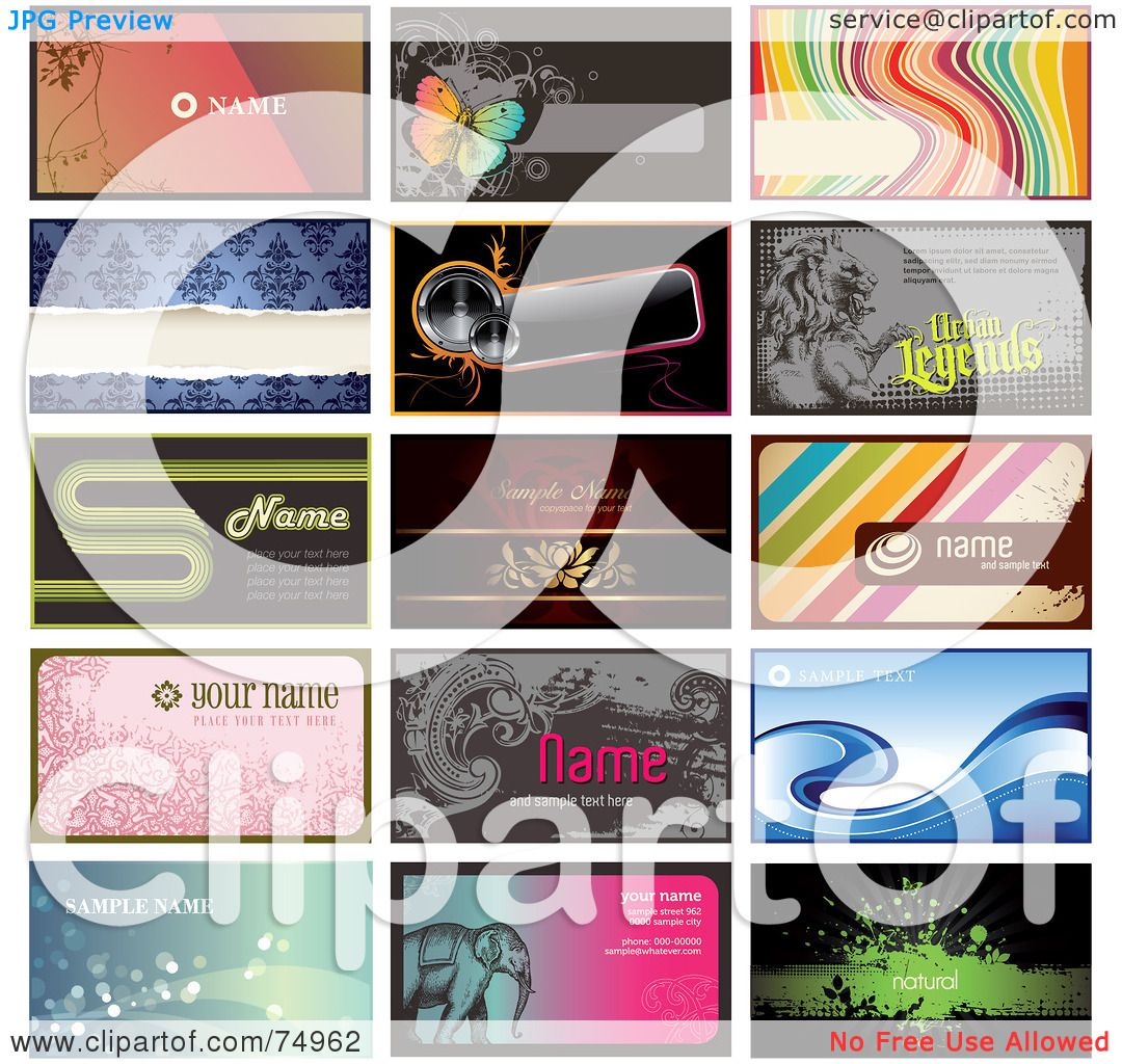 Royalty free rf clipart illustration of a digital collage of 15 royalty free rf clipart illustration of a digital collage of 15 horizontal business card designs some with sample text by anja kaiser colourmoves