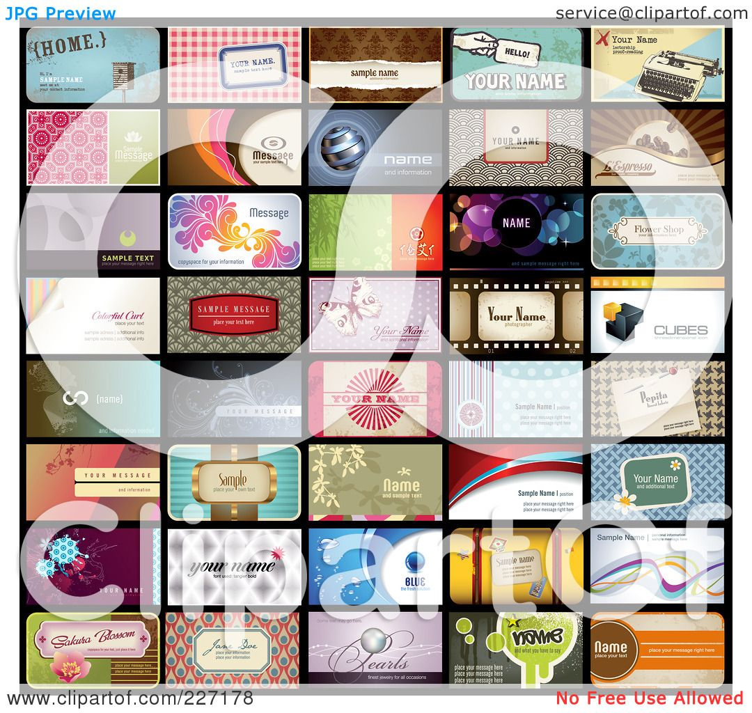 Royalty free rf clipart illustration of a digital collage of 40 royalty free rf clipart illustration of a digital collage of 40 business card designs with sample text by anja kaiser colourmoves