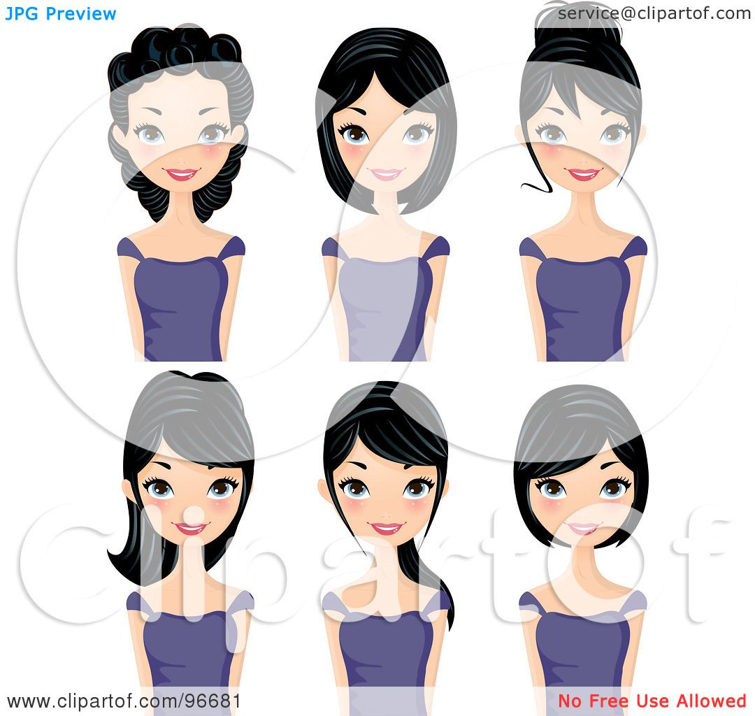 Wedding Hair Style Black Vector Art: Royalty-Free (RF) Clipart Illustration Of A Digital