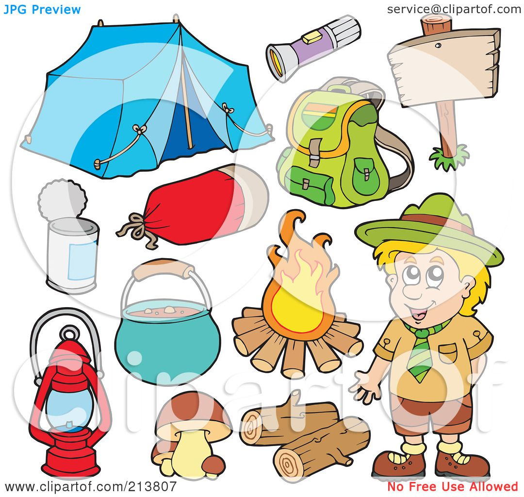 Royalty Free RF Clipart Illustration Of A Digital Collage Camper And Camping Gear By Visekart