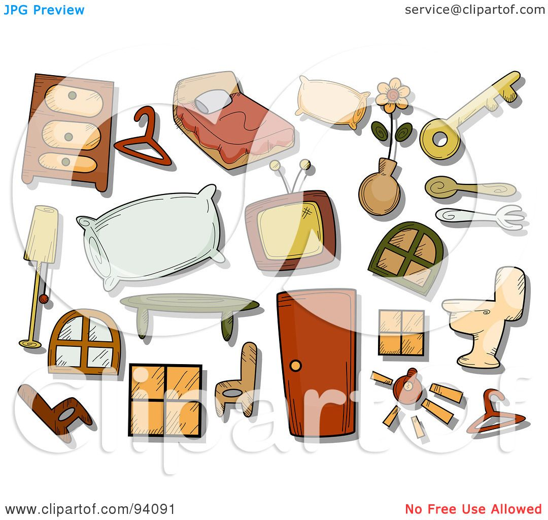 Royalty free rf clipart illustration of a digital for Household design items