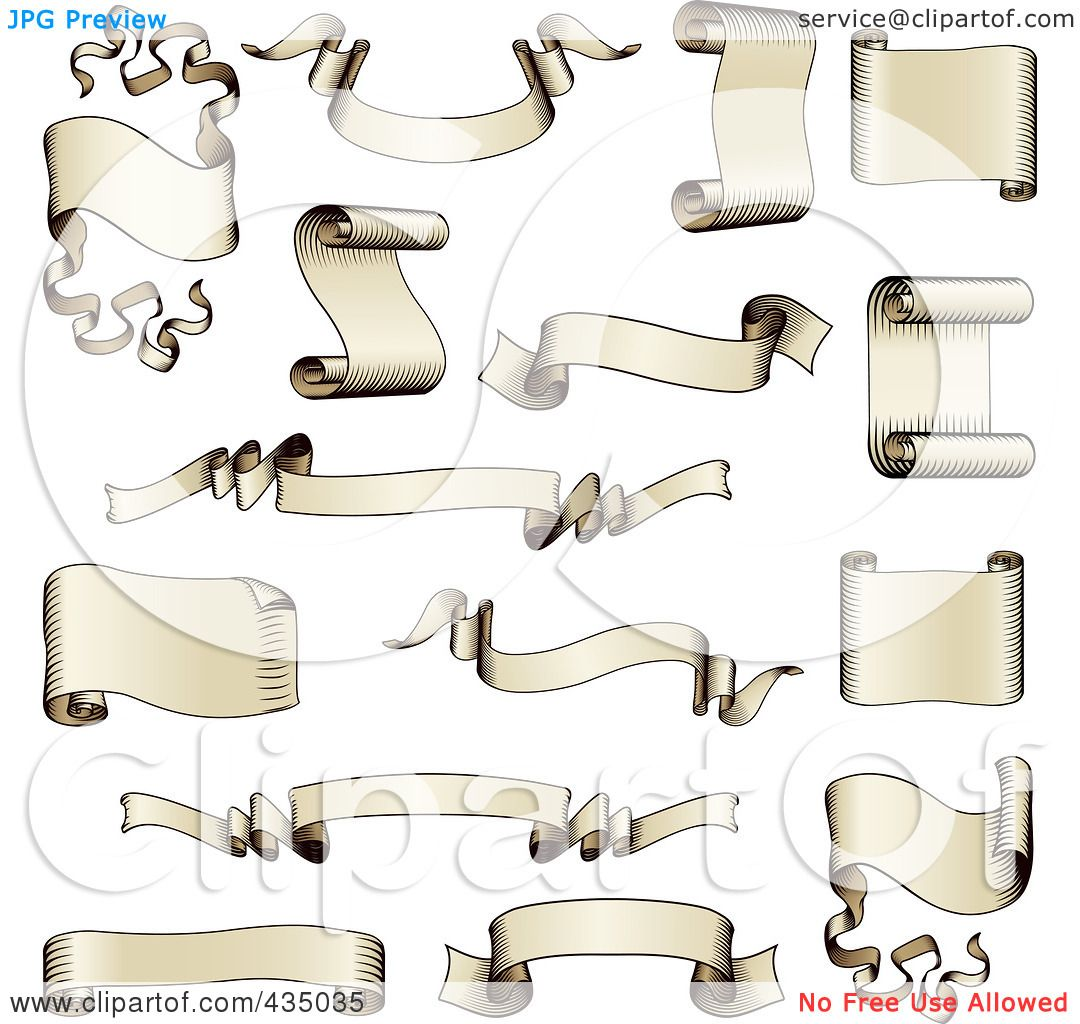 Royalty Free RF Clipart Illustration Of A Digital Collage Antique Scroll And Ribbon Banners