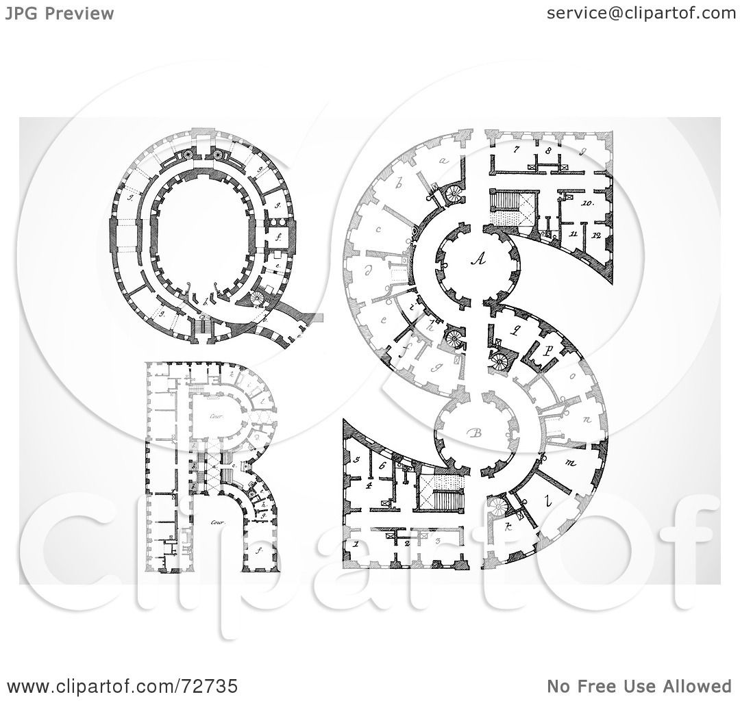royalty free rf clipart illustration of a digital collage of architectural black and white blueprint styled letters q r and s by bestvector