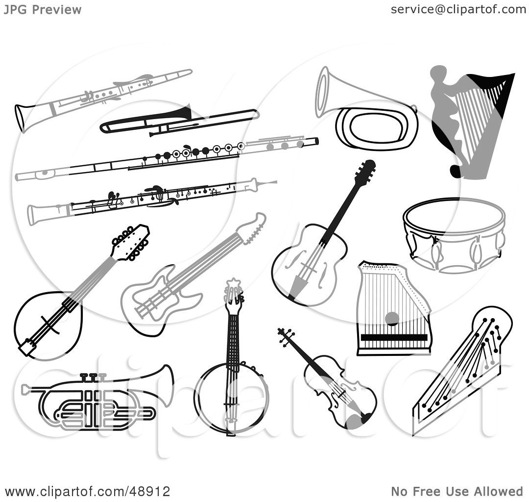 Coloring pages of string instuments ~ Royalty-Free (RF) Clipart Illustration of a Digital ...
