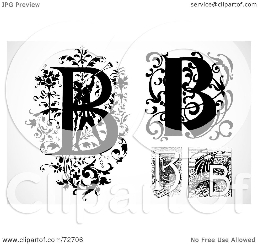 royalty free rf clipart illustration of a digital collage of black and white letters b version 3 by bestvector