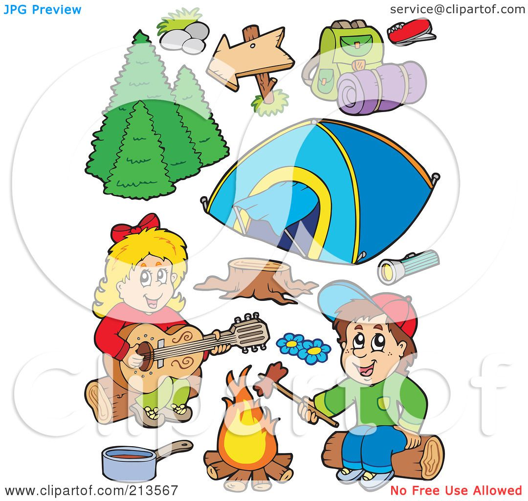 Royalty Free RF Clipart Illustration Of A Digital Collage Children Around Campfire And Camping Gear By Visekart