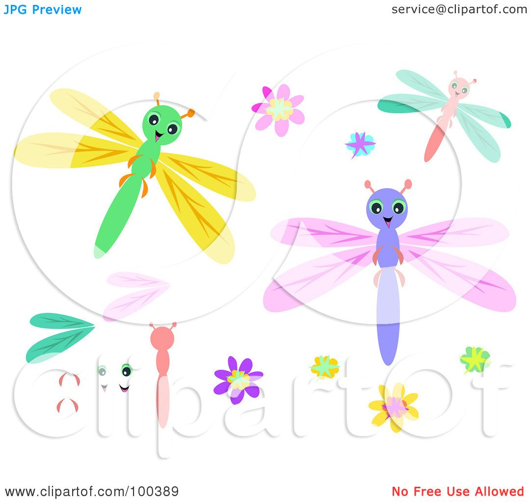 Cute Dragonfly Clipart of Cute Dragonflies And