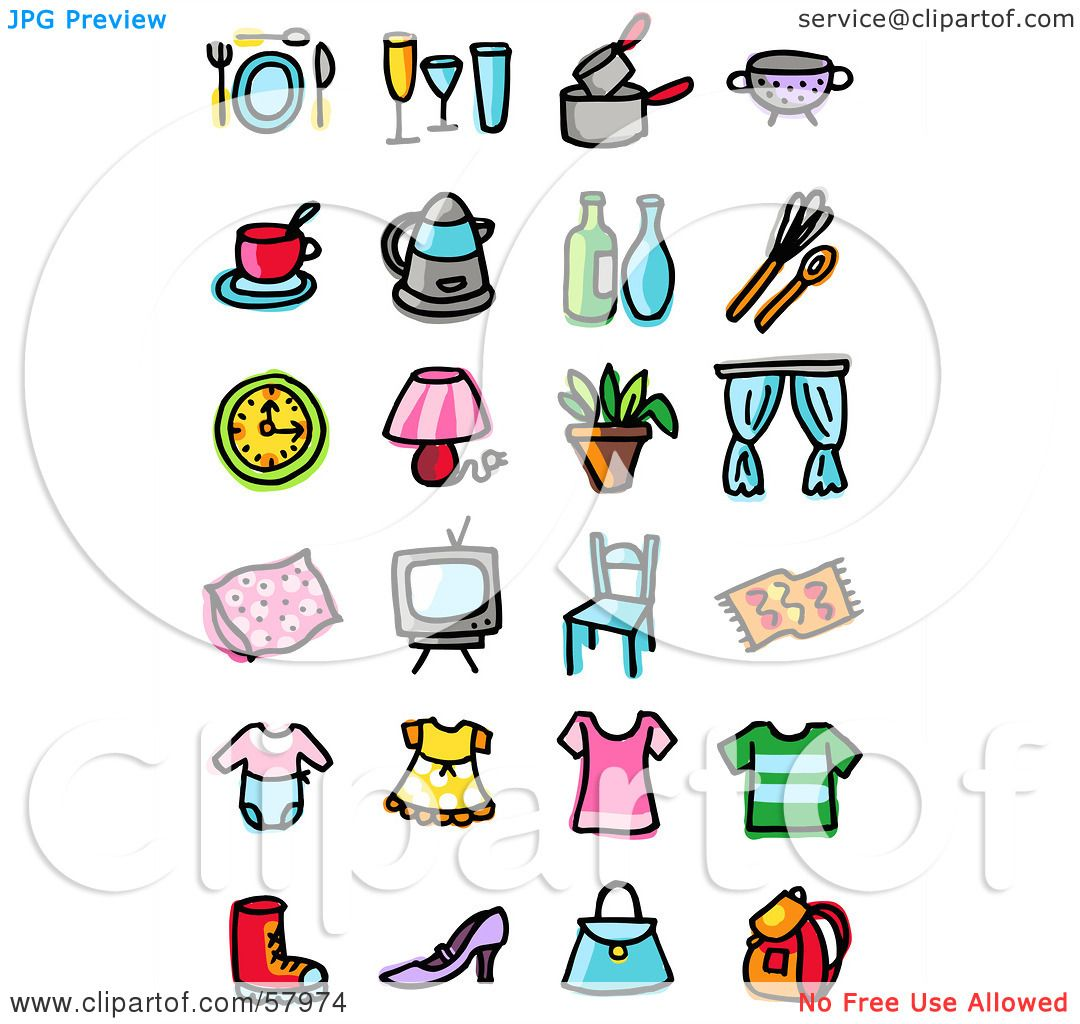 Royalty-Free (RF) Clipart Illustration of a Digital Collage Of Dining,  Cooking, Clothes And Household Items by NL shop