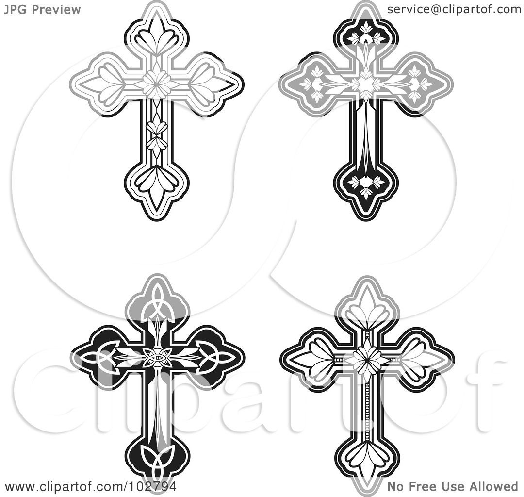 Ornate Cross Png Of four ornate crosses