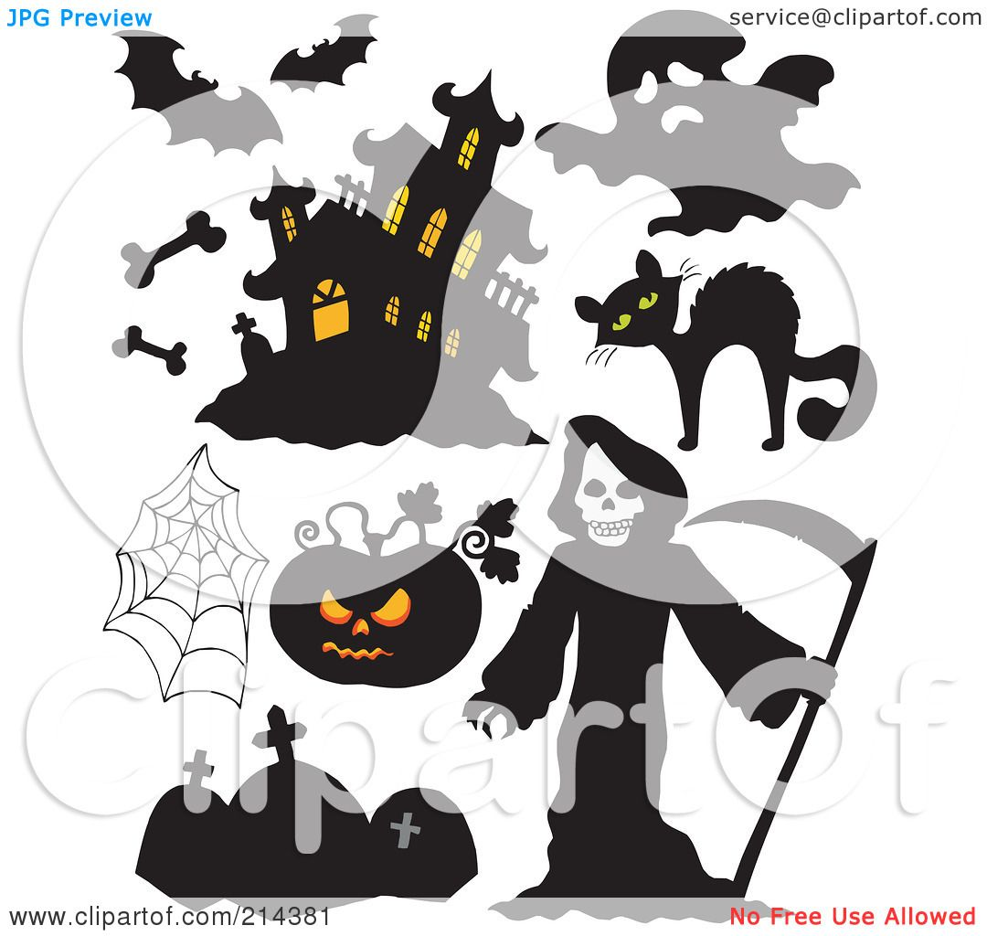royalty free rf clipart illustration of a digital collage of halloween items 6 by visekart - Halloween Items