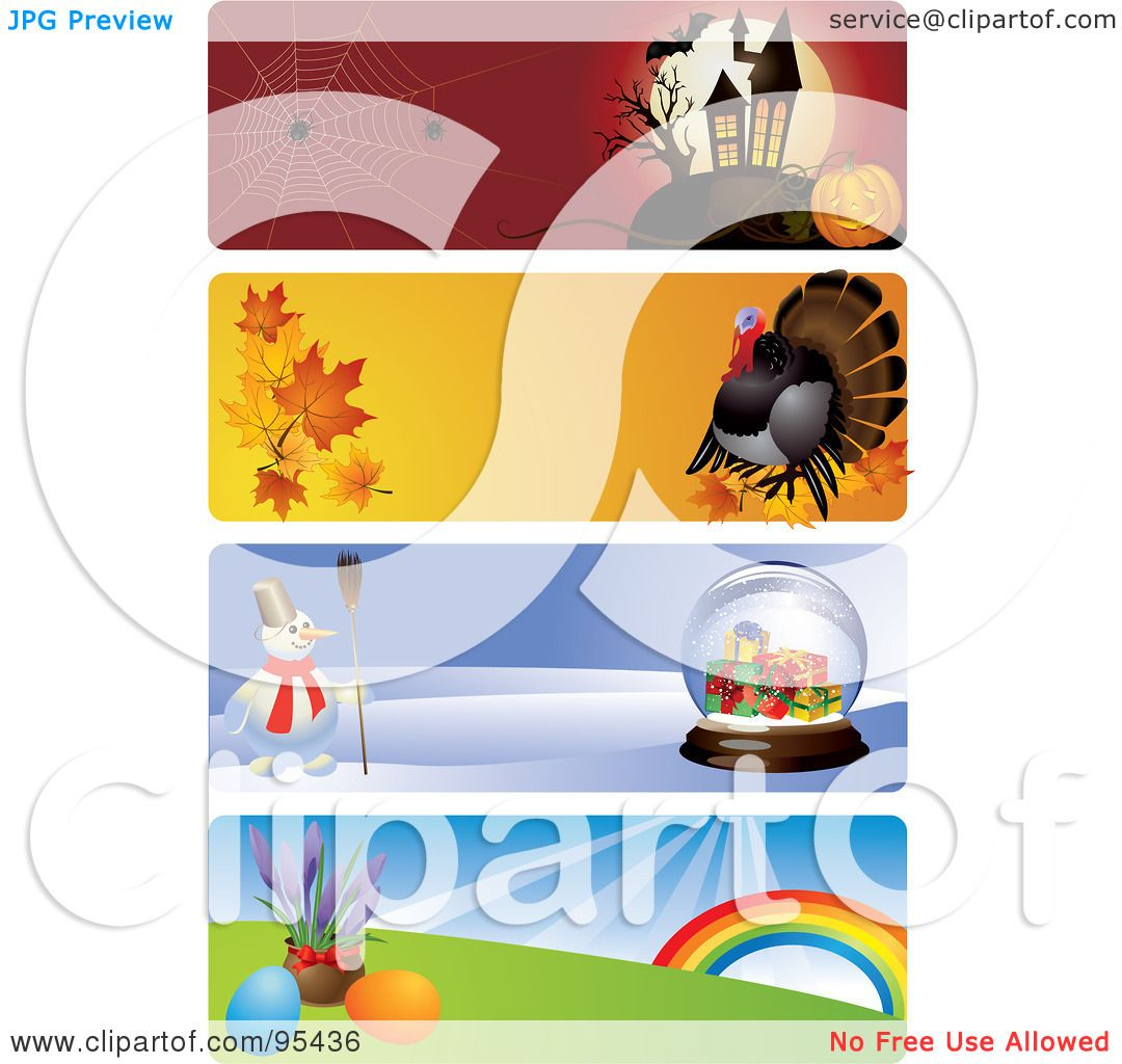 royalty free rf clipart illustration of a digital collage of halloween thanksgiving christmas and easter website header banners by eugene - Halloween Thanksgiving Christmas