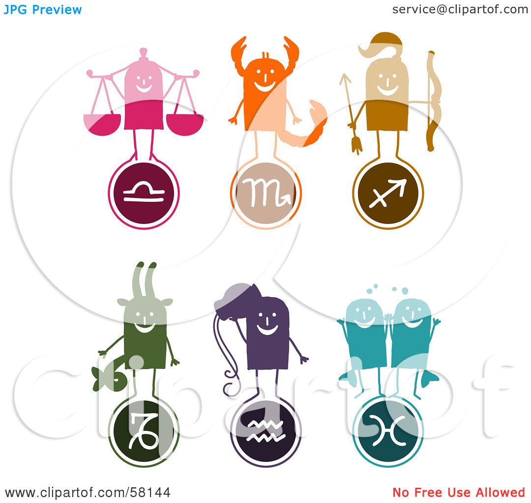 ... Sagittarius, Capricorn, Aquarius And Pisces Characters And Symbols by