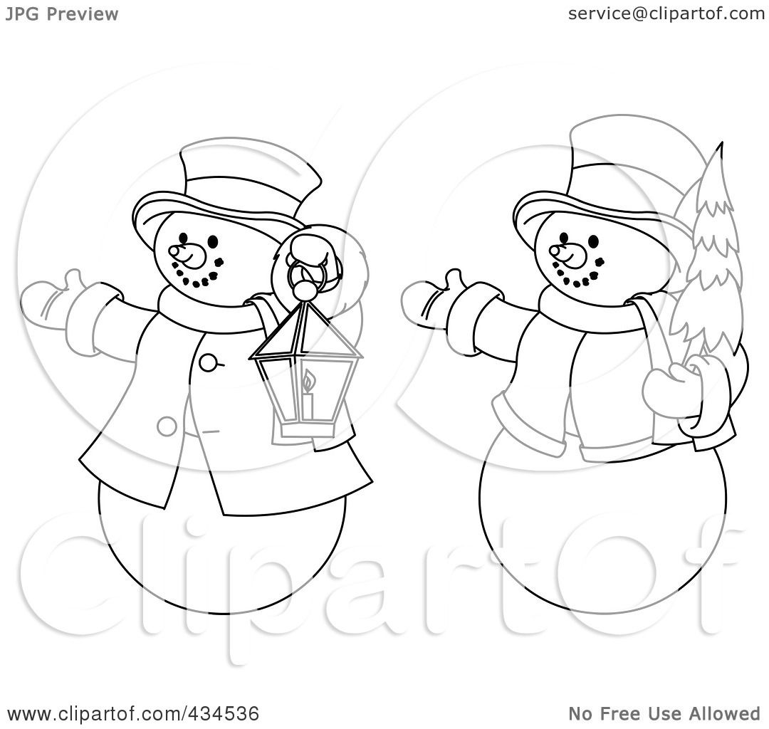 Royalty Free RF Clipart Illustration Of A Digital Collage Outlines Two Snowmen With Christmas Tree And Lantern By Pushkin