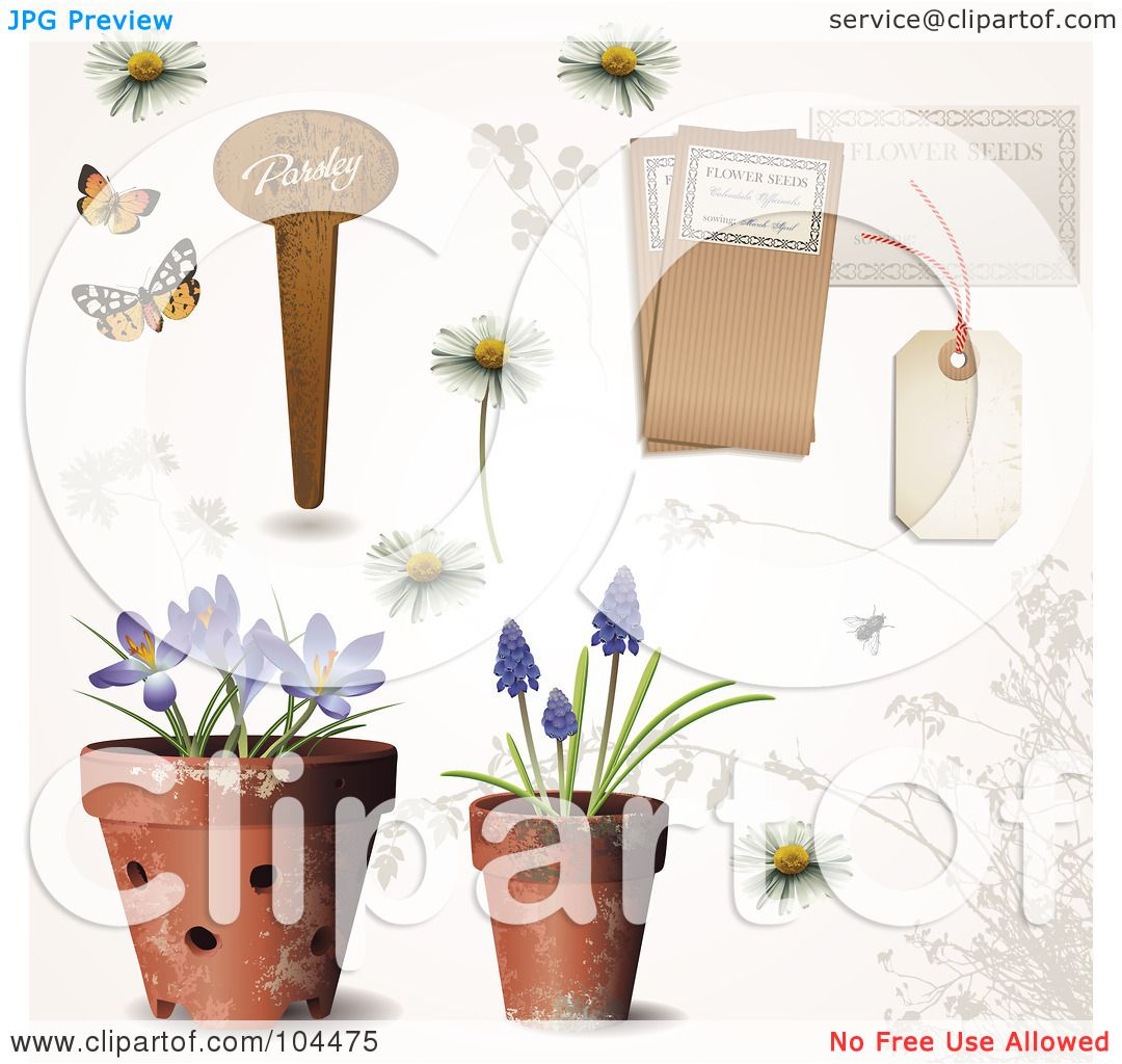 Royalty free rf clipart illustration of a digital collage of royalty free rf clipart illustration of a digital collage of potted spring flowers a garden tag daisies and other tags by anja kaiser mightylinksfo