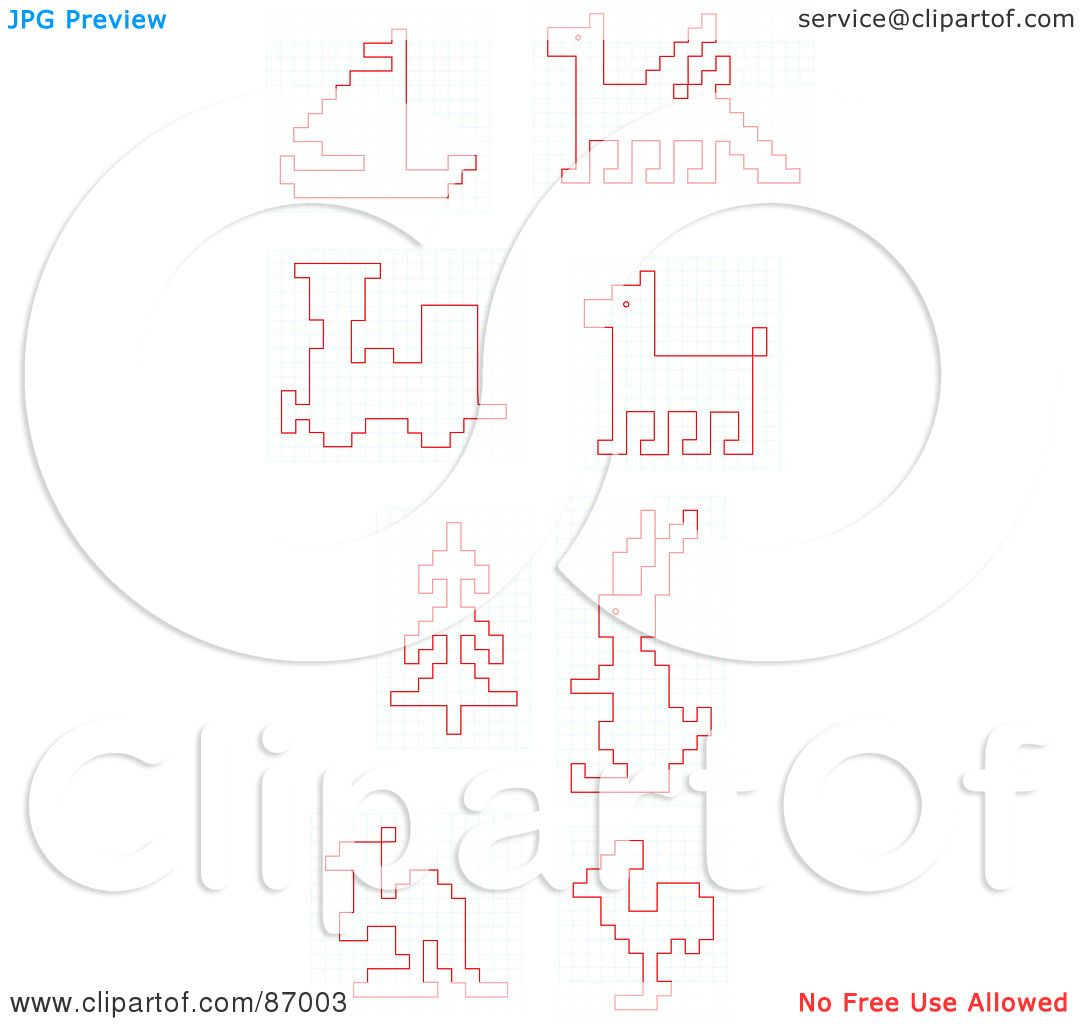 royalty free rf clipart illustration of a digital collage of red electronic sketches on graph paper by alex bannykh