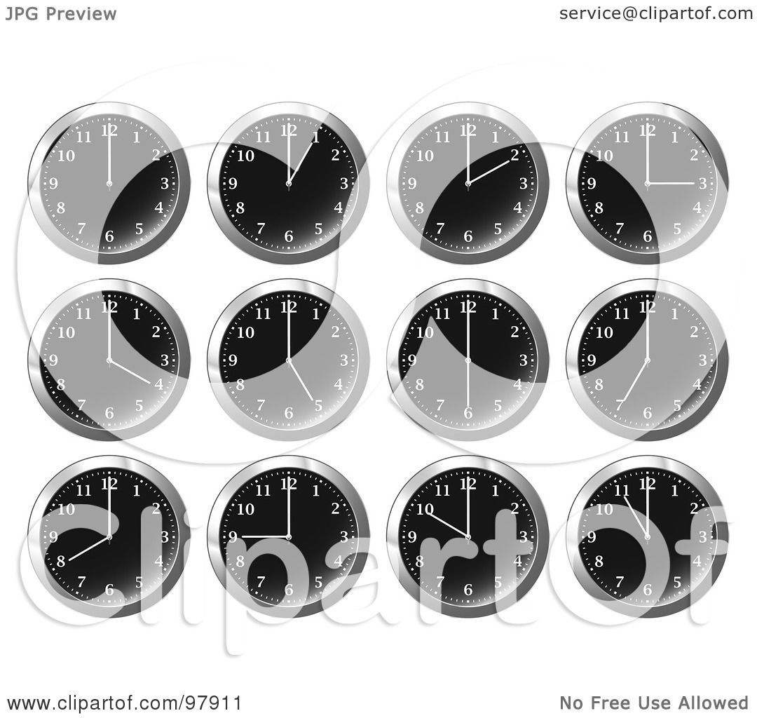 office wall clocks. Royalty-Free (RF) Clipart Illustration Of A Digital Collage Shiny Black Office Wall Clocks At Different Times By Michaeltravers