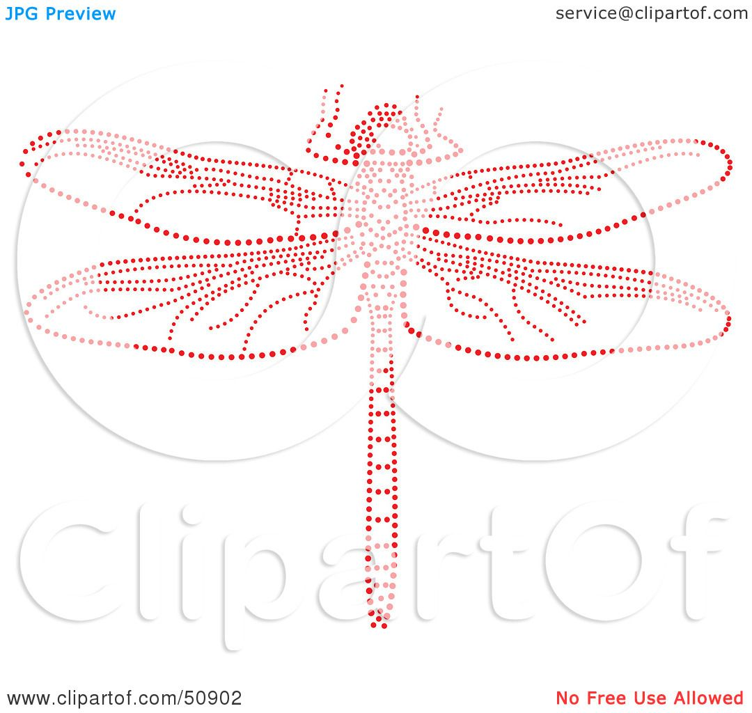 Royalty-Free (RF) Clipart Illustration of a Dragonfly Made of Red ...