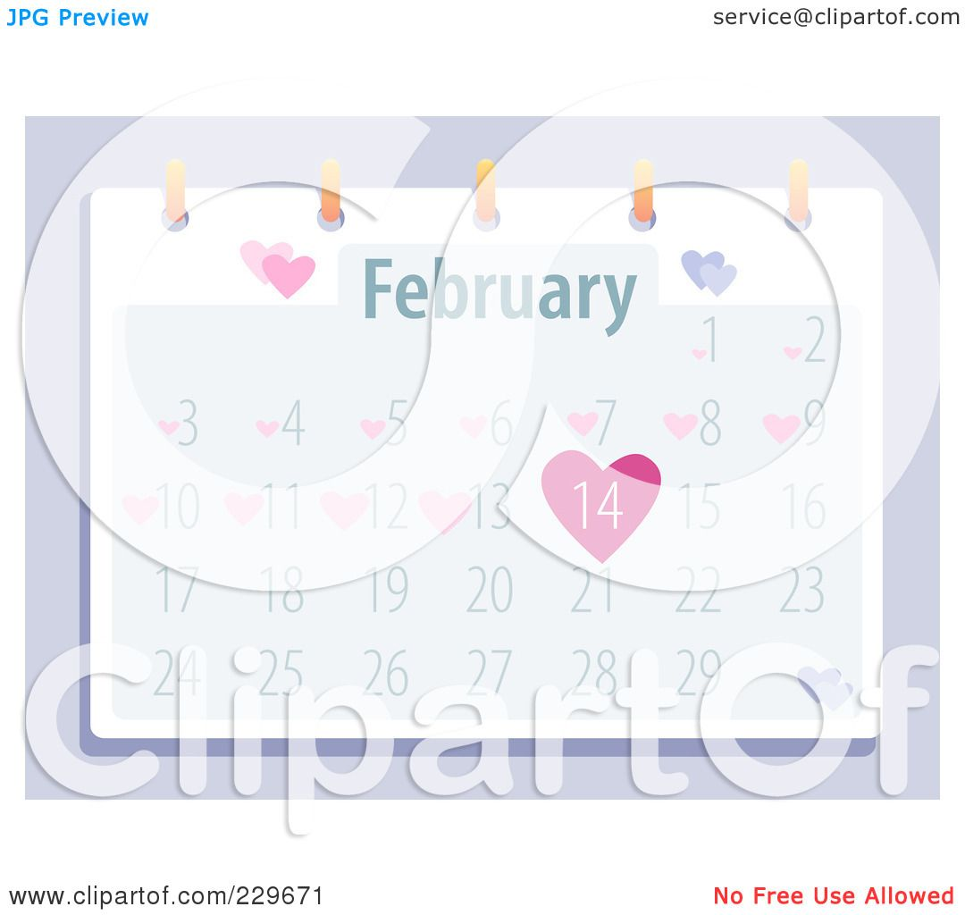 February Calendar Illustration : Royalty free rf clipart illustration of a february