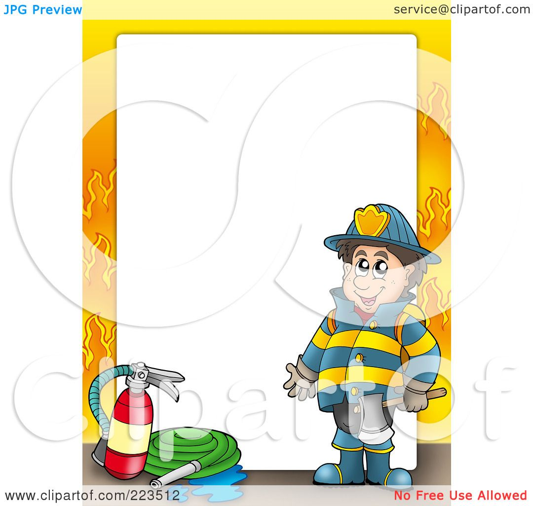 Flames white background border flame border w pictures to pin on - Royalty Free Rf Clipart Illustration Of A Fireman Border With Flames Around White Space By Visekart