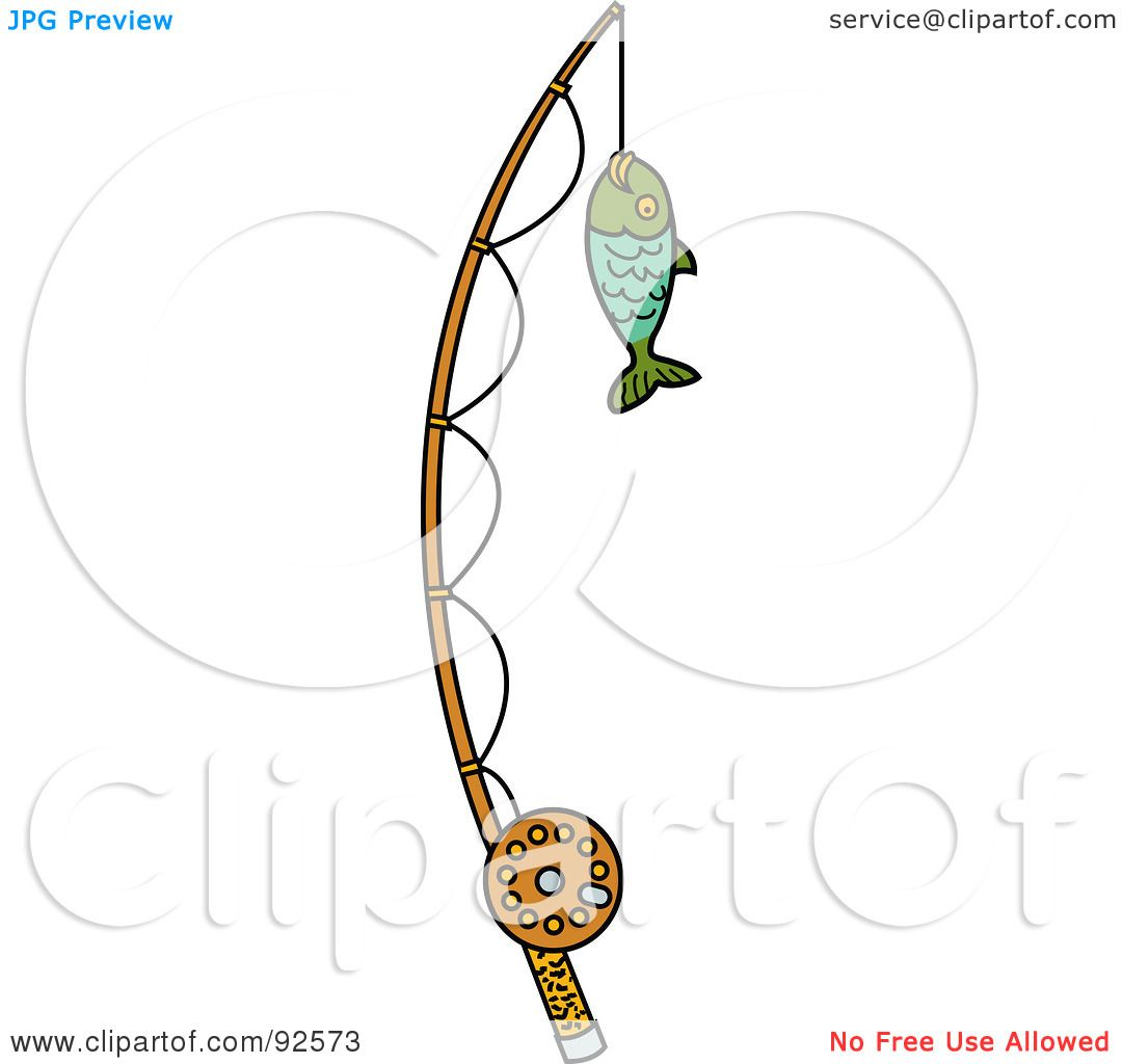 royalty-free (rf) clipart illustration of a fish caught on a, Fishing Rod